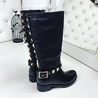 Женские стильные черные сапоги Val*ntino экокожа резина Хит 2017