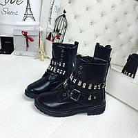 37 размер! Женские черные ботиночки заклпки с ремешком на меху Зима