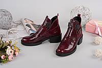 Зимние кожаные лакированные женские ботинки Diezzzl бордовая рептилия