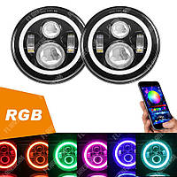 FB-002RGB Светодиодные LED фары 7 дюймов (Нива, УАЗ 469, ГАЗ 24, ВАЗ 2101, Хаммер, FJ Cruiser, w463, мотоцикл)