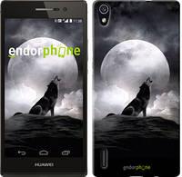"""Чехол на Huawei Ascend P7 Воющий волк """"934c-49-532"""""""