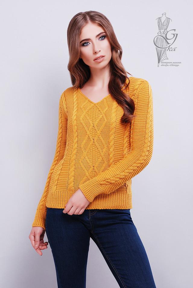 Цвет горчица Красивых женских свитеров Конти