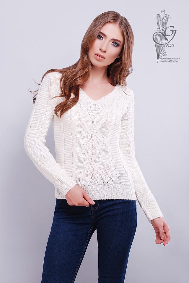 Цвет молоко Красивых женских свитеров Конти
