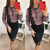 Женская красивая шелковая блуза с кружевом, 2 цвета светло-фиолетовый, 42-44