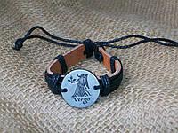 Стильный кожаный браслет знаки зодиака ДЕВА для девушки, ручная работа