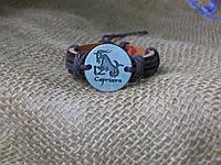 Красивый кожаный браслет знаки зодиака КОЗЕРОГ для девушки, ручная работа