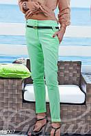 Укороченные мятные брюки из коттона