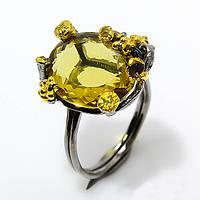 Кольцо серебро 925 пробы цитрин 12 карат, фото 1
