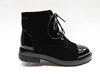 Замшевые черные ботиночки на шнурках. Маленькие размеры ( 33 - 35 ).