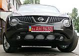 Декоративно-защитная сетка радиатора Nissan Juke фальшрадиаторная решетка, бампер, фото 2