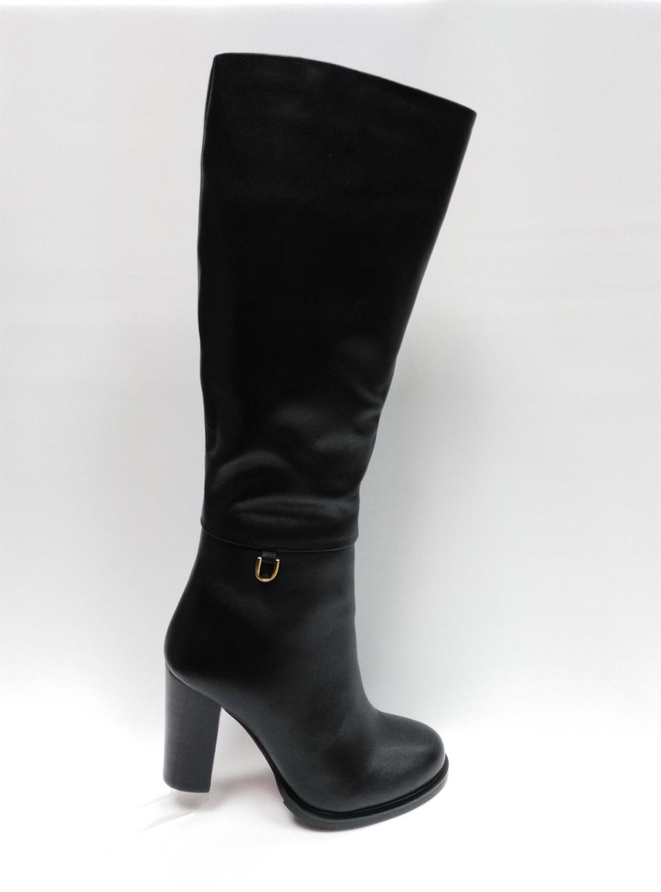 Черные кожаные зимние сапоги Erisses. Маленькие размеры (33 - 35).