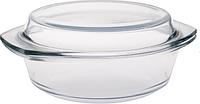 Стеклянная жаропрочная миска с крышкой 1,5л  (1л+0,5л) 0717