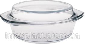 Стеклянная жаропрочная миска с крышкой 1л  (0,7л+0,3л) 0700