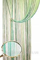Шторы  нити  радуга  дождь №1+15+211(белый, салатовый, зеленый)