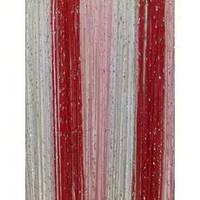 Шторы  нити  радуга  дождь №1+5+17(белый, розовый. красный)