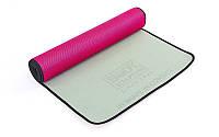 Коврик для фитнеса и йоги BODY SCULPTURE TPE (розовый)