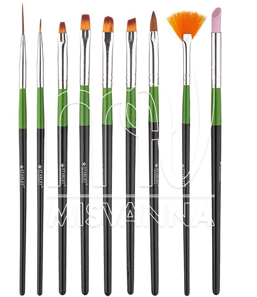 Кисти набор Starlet Professional для рисования, 9 шт (зеленые)