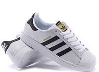 Кросівки Adidas Superstar White Black Gold