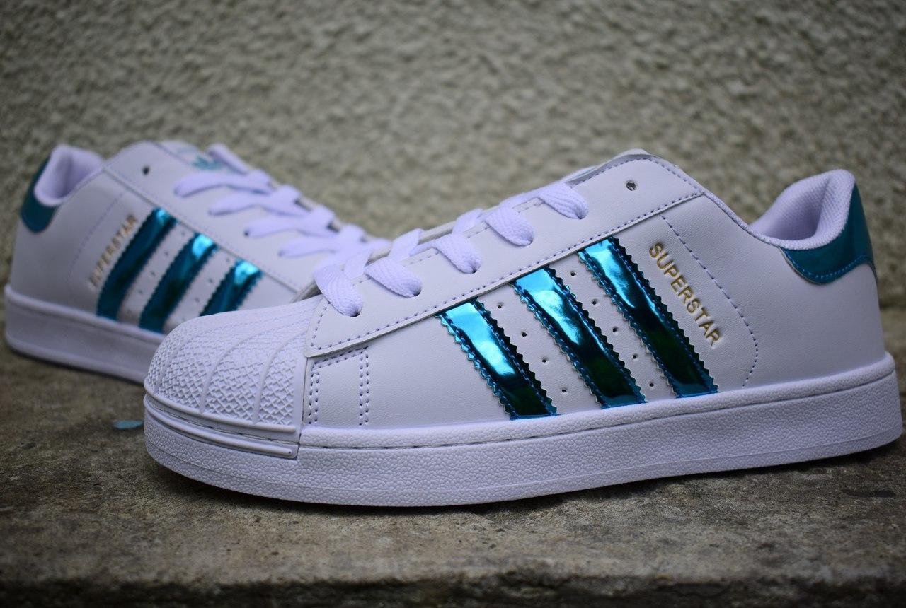 Жіночі Adidas SuperStar white blue(реплика) - Интернет-магазин вещей