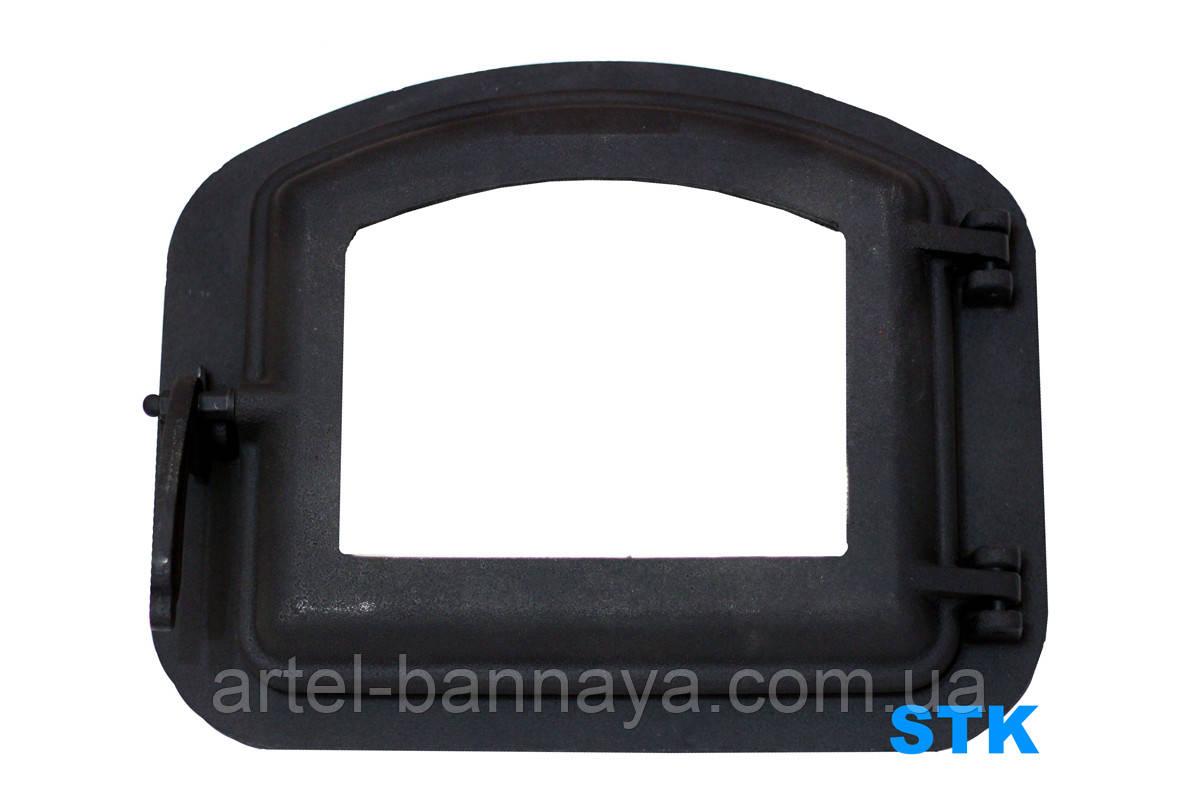 Чугунные дверки для камина со стеклом 420х335 мм