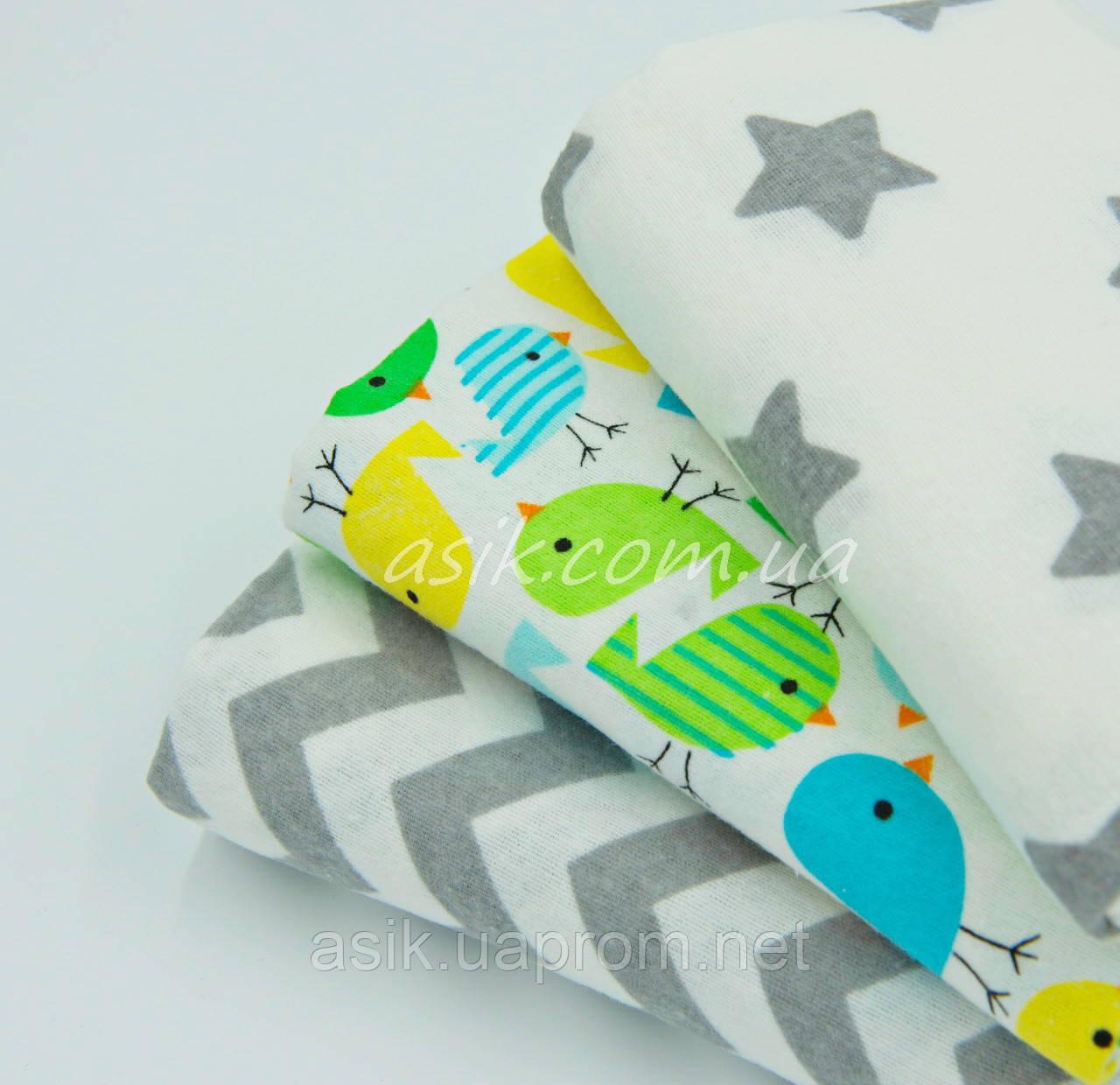 Набор фланелевых пелёнок для новорожденных из 3-х штук с салатовими воробьями (Польша) - Интернет-магазин детской постели «ASIK» в Волынской области