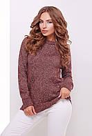 Модная женская вязаная кофта реглан с перфорацией,цвет бордово-кофейный меланж