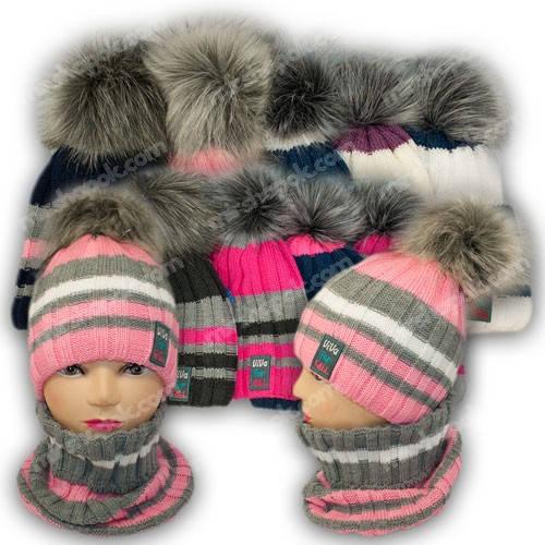 Комплект шапка и шарф (труба) для девочки, р. 50-52, подкладка флис, 7031