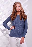 Женский стильный вязаный свитер с фактурным узором в косы цвет светлый джинс