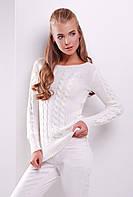 Женский стильный вязаный свитер с фактурным узором в косы цвет молоко