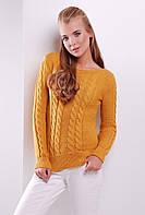 Женский стильный вязаный свитер с фактурным узором в косы цвет горчица