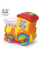 Интерактивный музыкальный паровозик huile toys Ту-Ту 958 на батарейках