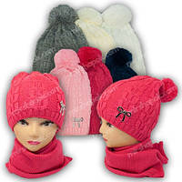 Комплект шапка и шарф для девочки, р. 52-54, подкладка флис, 7038