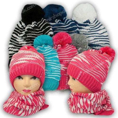 Комплект шапка и шарф для девочки, р. 52-54, подкладка флис, 7044