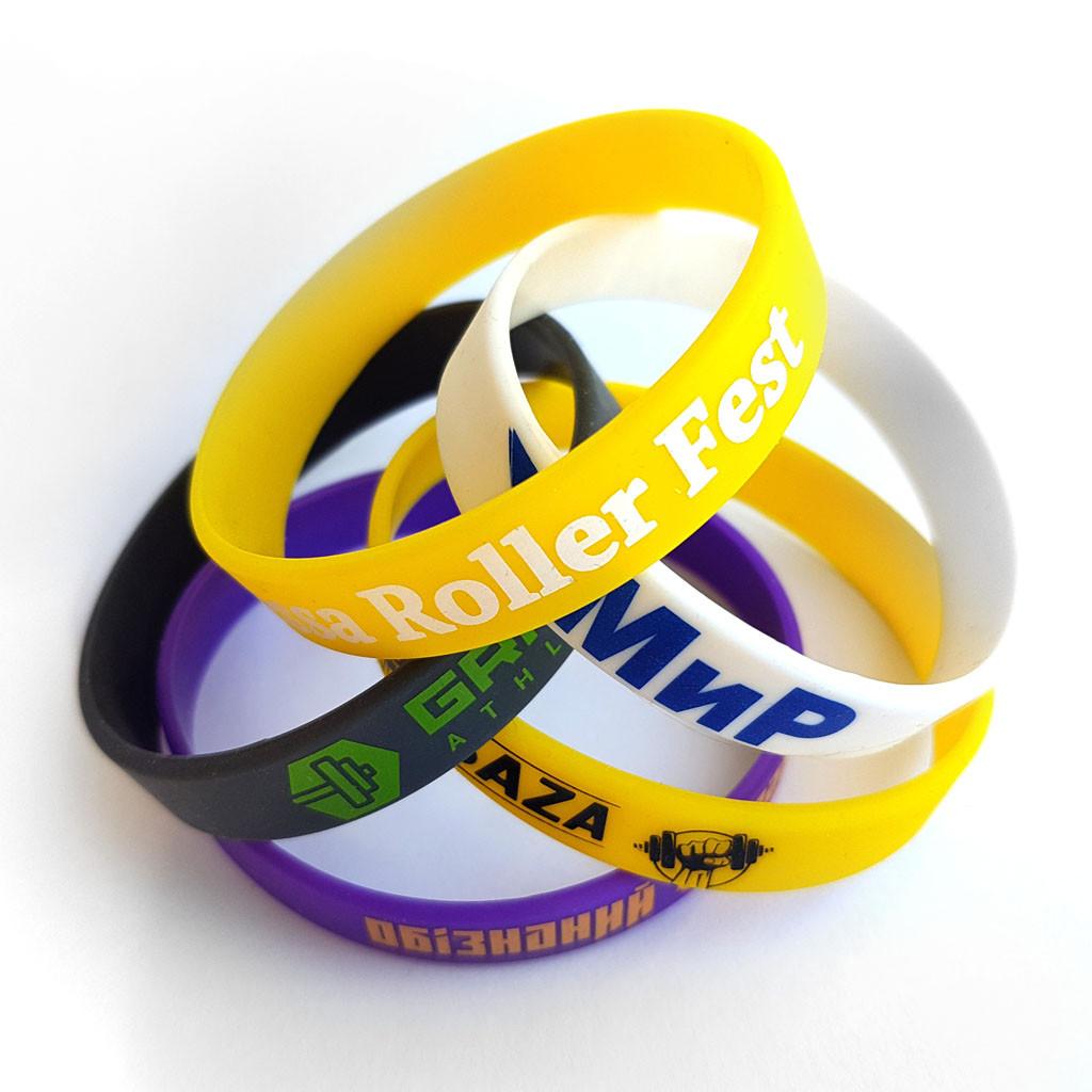 Силиконовые браслеты с нанесением краски в 1 цвет от 100 шт