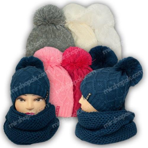 Комплект шапка и шарф (хомут) для девочки, р. 52-54, подкладка флис, 7068