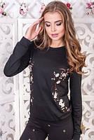 Черный свитшот с цветочной вышивкой