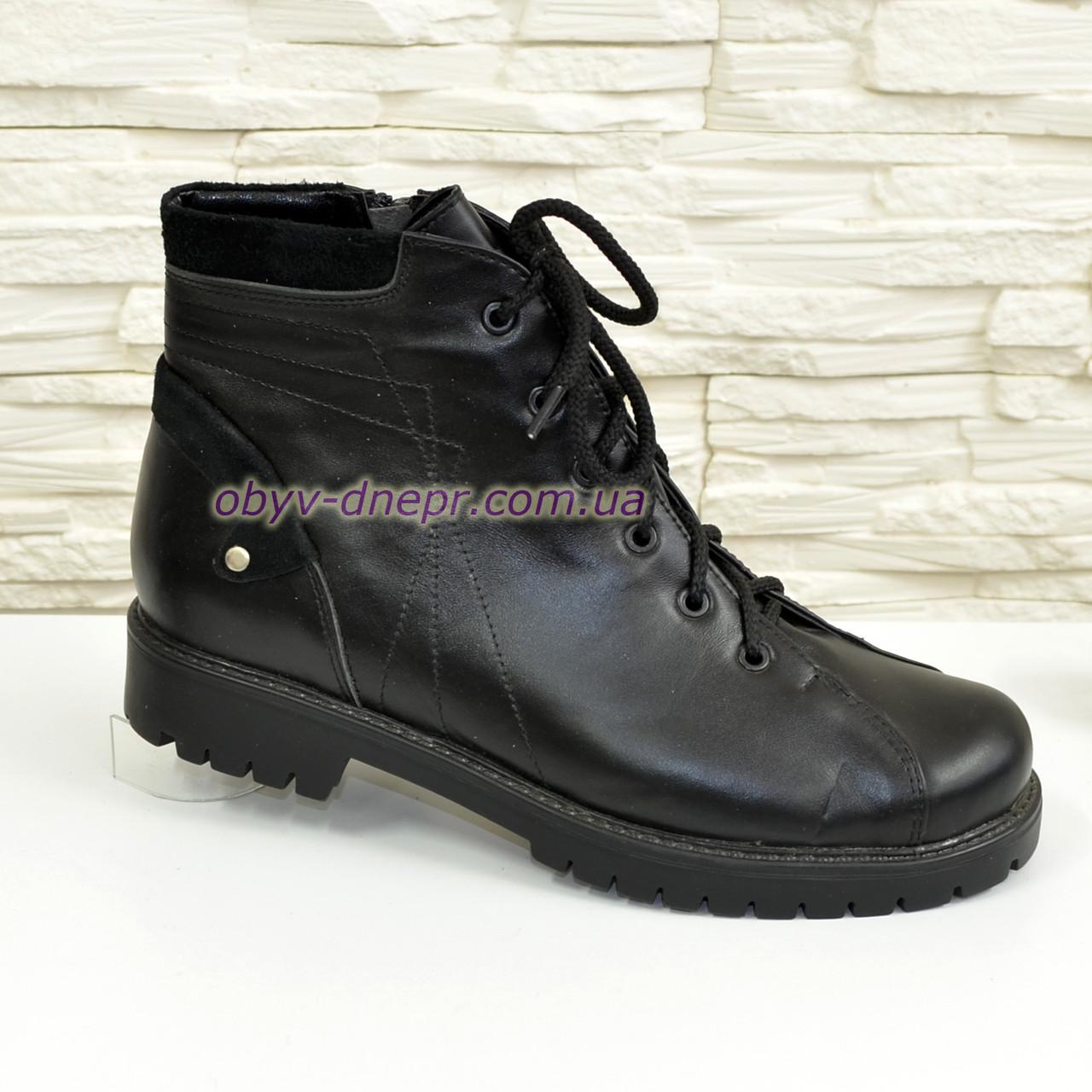 Ботинки женские   кожаные на шнуровке, цвет черный.