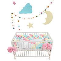 """Комплект постельки для новорожденных с бортиками косичками  """"Kingdom of unicorns"""""""