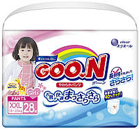 Трусики-подгузники GOO.N для девочек 13-25 кг (размер BigBig (XXL), 28 шт) (853085)
