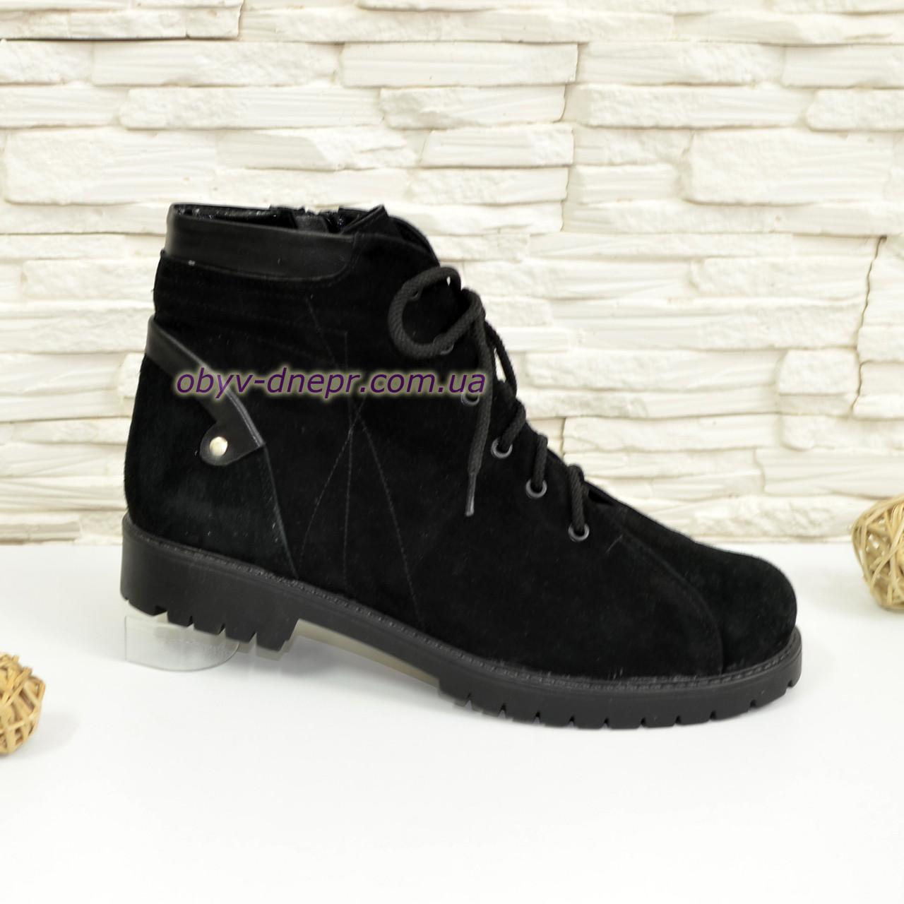 Черевики жіночі замшеві на шнурівці, колір чорний.