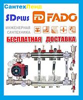 Коллектор для теплого пола  в сборе  SD plus-FADO на 2 контура