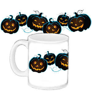 Кружка c принтом Хеллоуин тыквы