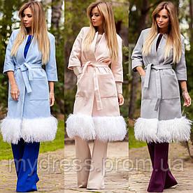 Пальто кашемир с мехом ламы 10881