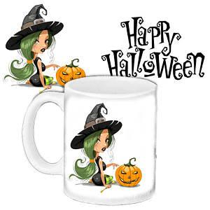 Кружка c принтом Хеллоуин Halloween Ведьма