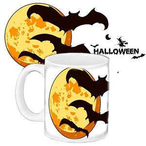 Кружка c принтом Хеллоуин Halloween Летучие мыши