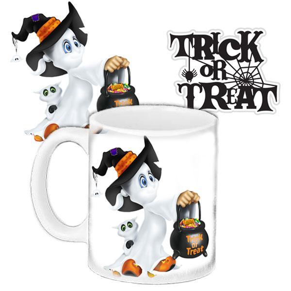 Кружка c принтом Хелловін Halloween Цукерки або смерть