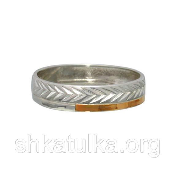 """(Пара) Серебряные обручальные кольца с золотыми вставками """"Мишель"""""""