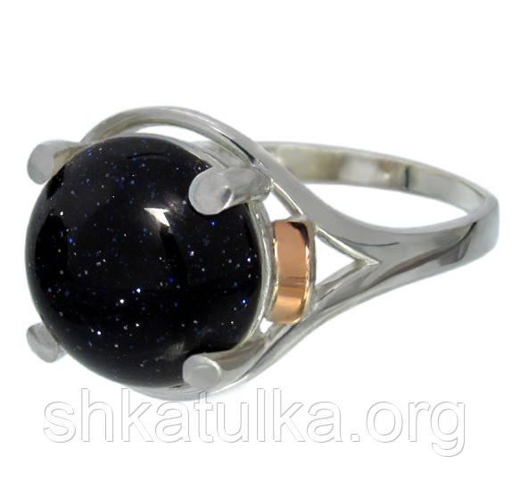 """Женское серебряное кольцо с золотыми пластинами """"Ирис"""" с камнем №61-5"""
