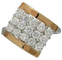 """Женское серебряное кольцо с золотыми вставками """"Звездное мерцание"""" №72-5"""