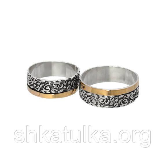 ce2a8db3f9de ... фото (Пара) Серебряные обручальные кольца с золотыми пластинами